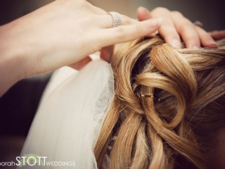 Pinned curl wedding hairstyle