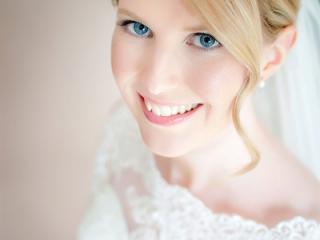 Blue eye blonde hair wedding makeup