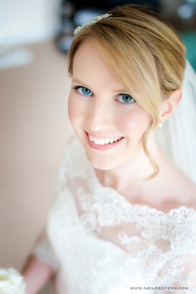 Blue eye blonde hair wedding makeup