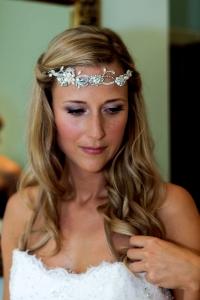 Circlet bridal soft wave hairstyle plum smokey eye