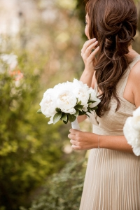 Relaxed loose side bridesmaid hairstyle