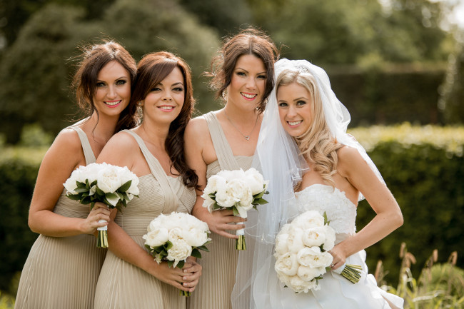 Modern bride and bridesmaid hair and makeup