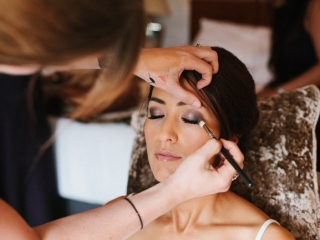 Purple smokey eye dramatic wedding makeup