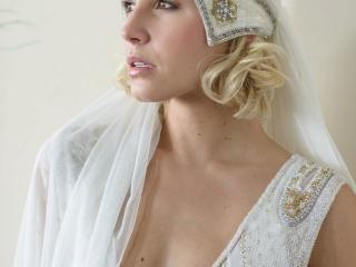 Skull cap wedding veil by Vicky Rowe