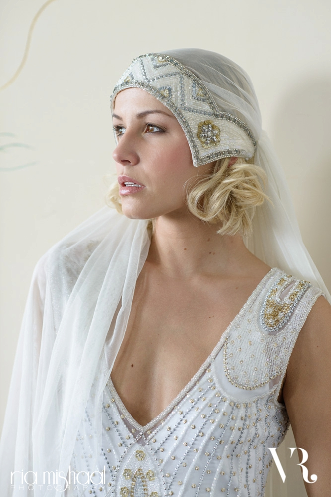 Skull cap wedding veil by Vicky Rowe