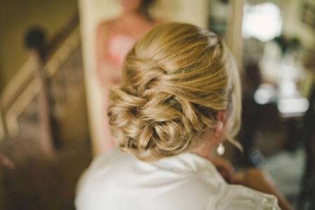 Blonde bridal hairstyle