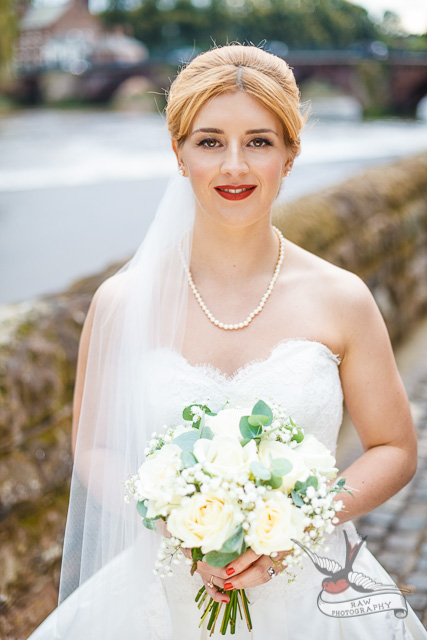 Statement red lip wedding makeup