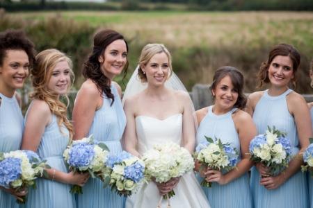 Bride and bridesmaids hair and makeup Sandhole Oak Barn