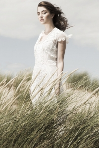 Fashion editorial beach shoot lace dress