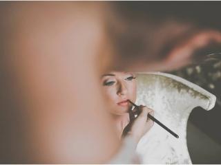 Coral lip wedding makeup