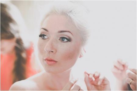 Coral lip smokey eye bridal makeup
