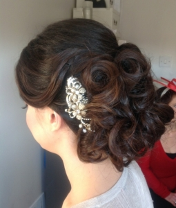 Curled bridal updo hairstyle