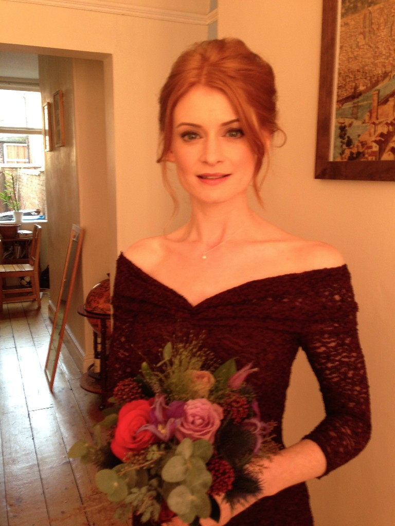 Casual red hair bridesmaid hairstyle