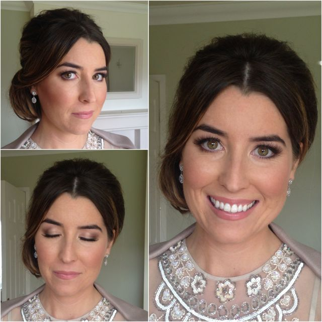 Classy bridesmaid side bun hair and makeup
