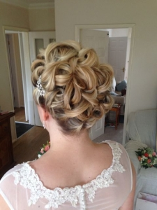 Curled traditional bridal hairstyle