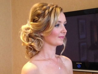 Soft pretty braided bridesmaid hairstyle