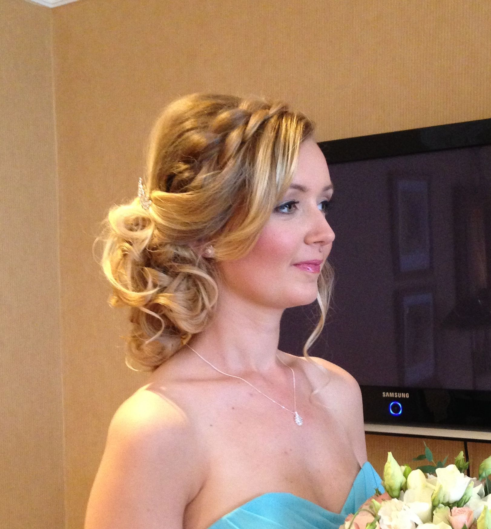 Soft pretty braided bridesmaid hairstyle