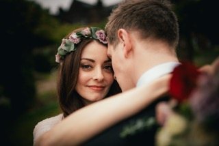 Floral rose crown wedding hair