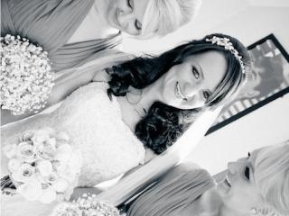 Bride and bridesmaid hair and makeup