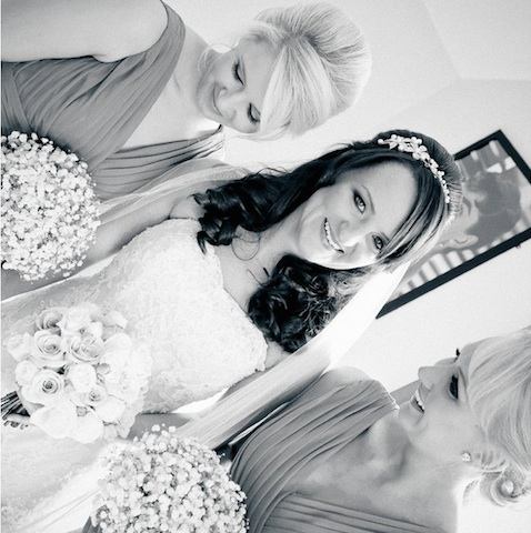 Bride and bridesmaid hair and makeup