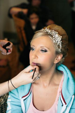 Dramatic plum smokey eye bridal makeup